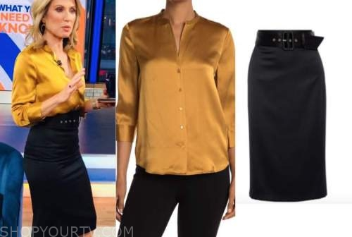 amy robach, good morning america, yellow satin blouse, black skirt