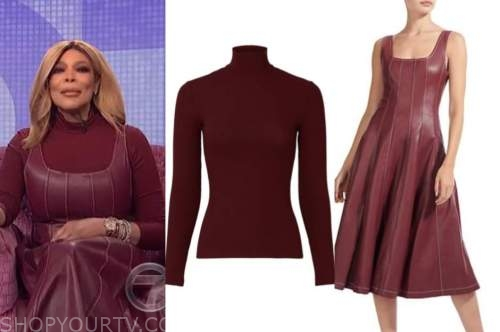 wendy williams, the wendy williams show, burgundy turtleneck, burgundy leather dress