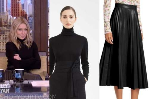 kelly ripa, live with kelly and ryan, black turtleneck, black pleated leather midi skirt