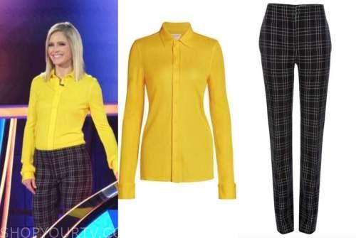 sara haines, the chase, yellow shirt, black plaid pants