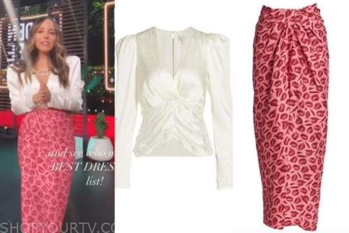 lilliana vazquez, E! news, daily pop, ivory satin blouse, red and pink lip skirt