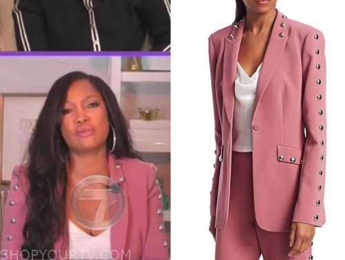 garcelle beauvais, the real, pink studded trim blazer