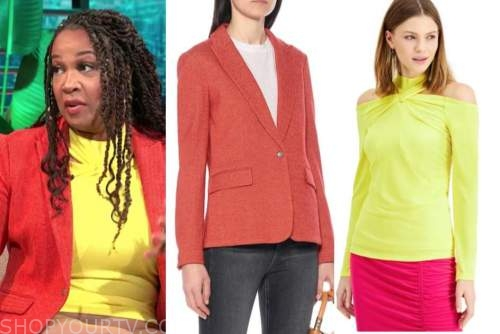 kym whitley, E! news, daily pop, red blazer, yellow top