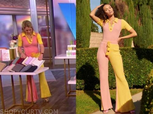 sara haines, the view, pink and yellow knit jumpsuit