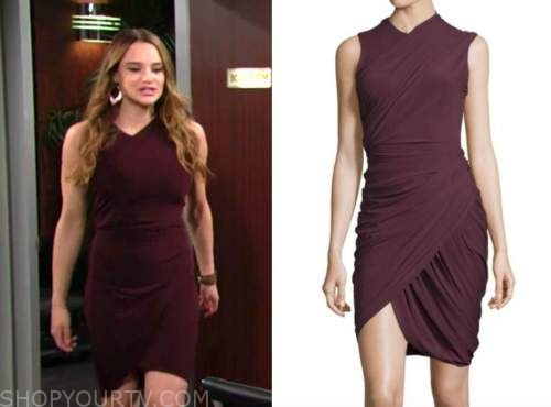 summer newman, hunter king, the young and the restless, purple dress