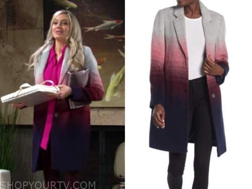 abby newman, melissa ordway, ombre coat, the young and the restless