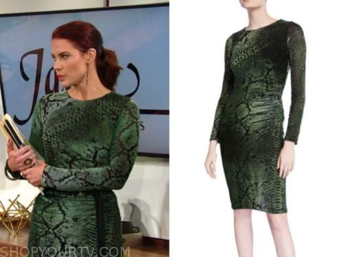 sally spectra, courtney hope, the young and the restless, green snakeskin dress