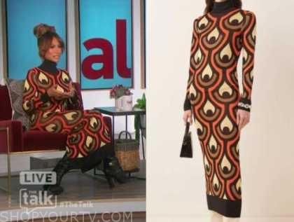 the talk, elaine welteroth, geometric turtleneck dress