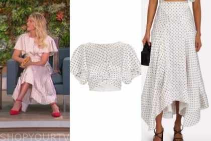 amanda kloots, the talk, polka dot top and skirt