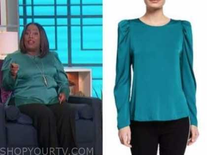 sheryl underwood, the talk, teal satin puff sleeve top