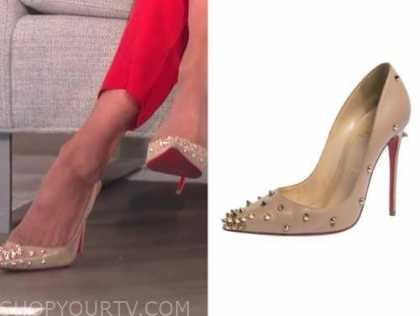 carrie ann inaba, the talk, beige spike embellished pumps heels
