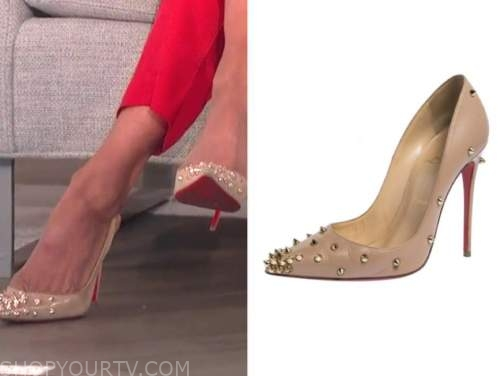 carrie ann inaba, the talk, beige spike embellished pumps heels