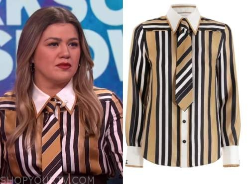 kelly clarkson, the kelly clarkson show, striped contrast collar tie shirt