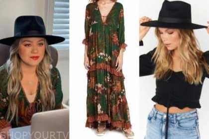 kelly clarkson, the kelly clarkson show, green dress, black hat