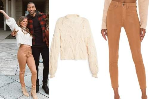 jojo fletcher, the bachelor, bloopers, women tell all, beige sweater, tan pants, suede booties