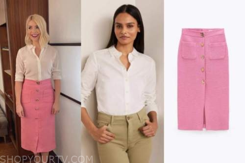 this morning, holly willoughby, white shirt, pink skirt