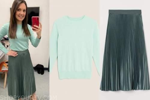 good morning britain, laura tobin, mint green jumper, green pleated midi skirt