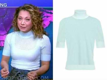 ginger zee, good morning america, blue turtleneck short sleeve top