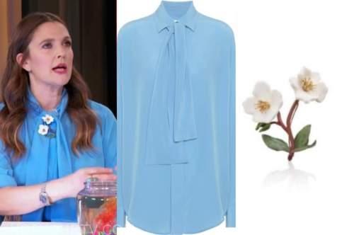drew barrymore, drew barrymore show, blue tie neck blouse, white flower brooch