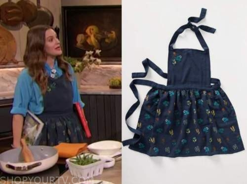 drew barrymore, drew barrymore show, navy blue floral embroidered apron