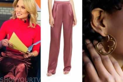 amy robach, pink satin pants, gold hoop earrings