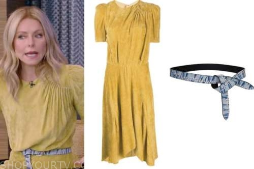 kelly ripa, live with kelly and ryan, yellow suede dress, blue snakeskin belt