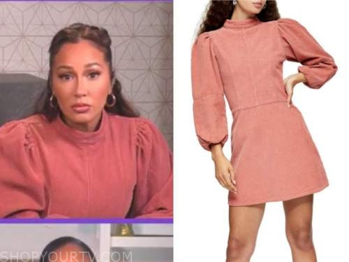 adrienne bailon, the real, pink corduroy dress