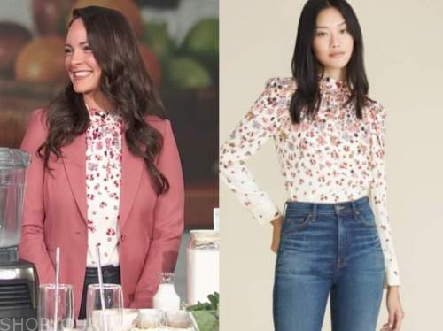 kelly leveque, E! news, daily pop, white floral mock neck top