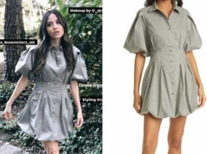 erin lim, E! news, nightly pop, khaki green shirt dress