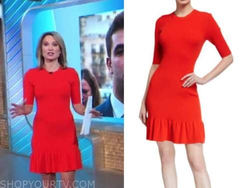 amy robach, good morning america, red knit dress