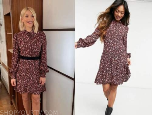holly willoughby, this morning, burgundy floral dress
