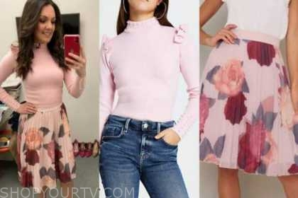 laura tobin, good morning britain, pink pearl jumper, pink floral pleated skirt