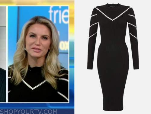ashley strohmier, fox and friends, black and white knit dress