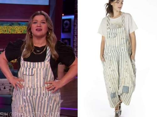 kelly clarkson, the kelly clarkson show, denim striped distressed overalls