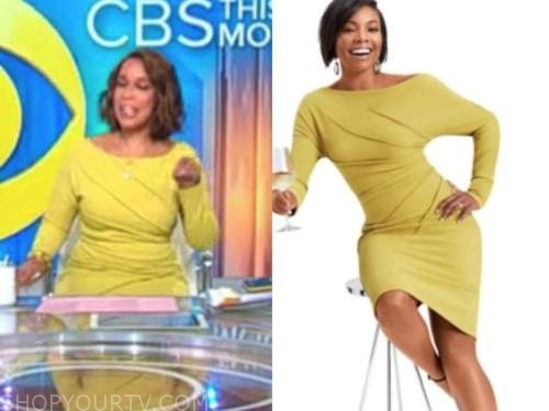 gayle king, cbs this morning, yellow pleated dress