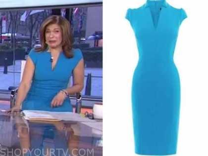 the today show, hoda kotb, blue sheath dress