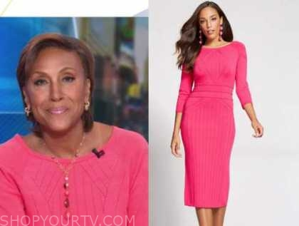 robin roberts, good morning america, hot pink sweater dress