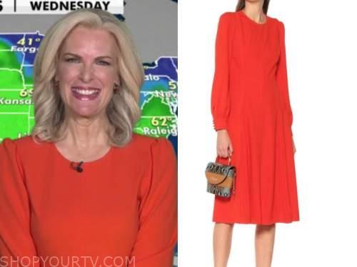fox and friends, red long sleeve midi dress, janice dean
