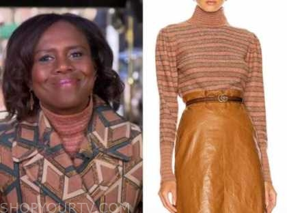 deborah roberts, good morning america, metallic stripe turtleneck