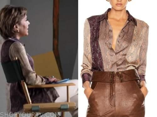 robin roberts, good morning america, silk snakeskin colorblock shirt