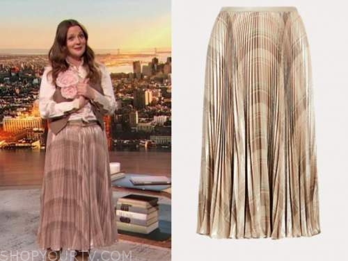 drew barrymore, drew barrymore show, metallic printed pleated skirt