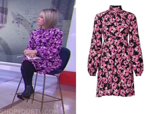 the today show, dylan dreyer, pink floral mock neck dress
