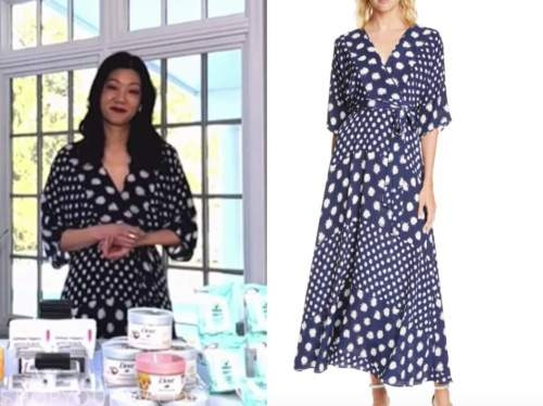 michelle lee, navy blue and white dot wrap dress, the today show