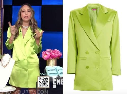 lilliana vazquez, E! news, daily pop, lime green blazer dress