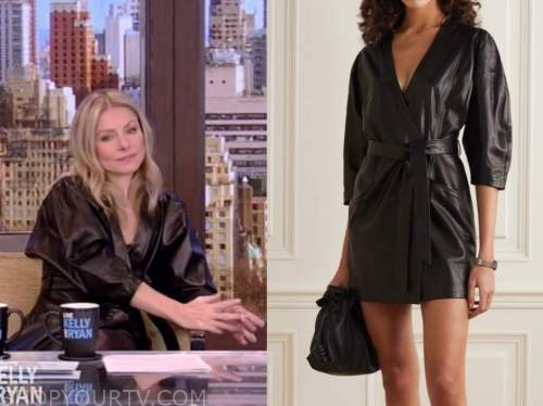 kelly ripa, live with kelly and ryan, black leather dress