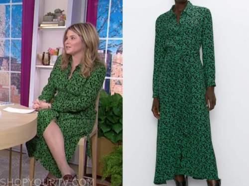 jenna bush hager, the today show, green and black printed shirt dress