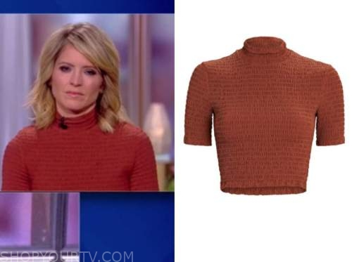 the view, sara haines, red brown mock neck top