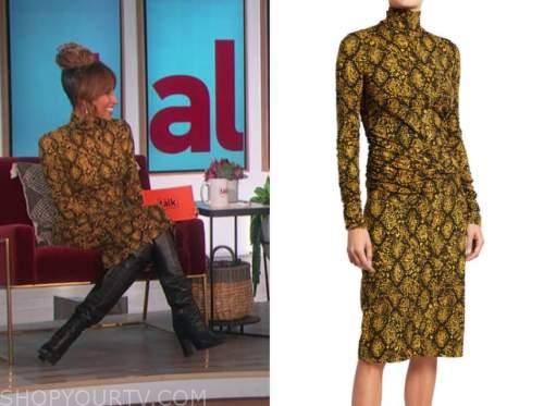 elaine welteroth, the talk, yellow snakeskin turtleneck dress