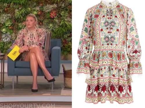 amanda kloots, the talk, floral lace trim mock neck dress