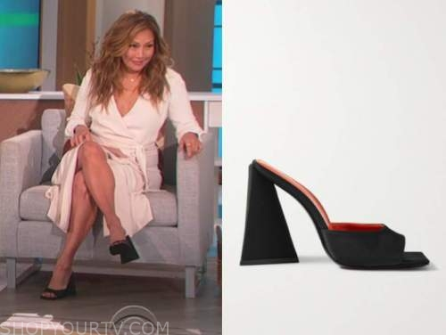 black block heel mules, the talk, carrie ann inaba